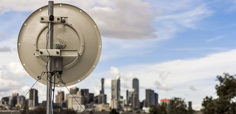 Rocket Networks Satellite Dish providing Event Internet to Melbourne